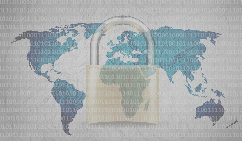 Padlock over a world map superimposed with ones and zeroes